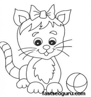 Printable cute kitten playing with ball coloring pages