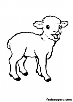 Print Farm Lamb Coloring Pages For Childrens