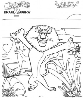 Madagascar 3 Alex the Lion coloring
