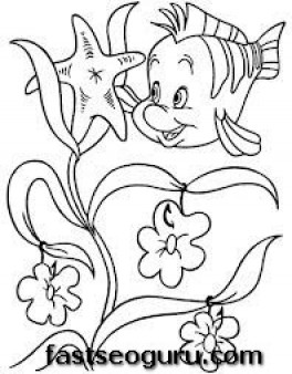 flounder coloring pages for girls | Printable Flounder the Little Mermaid Coloring Pages For ...