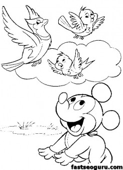 printable mickey mouse baby coloring pages