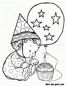 Free Printable litter baby birthday 1 coloring in sheet