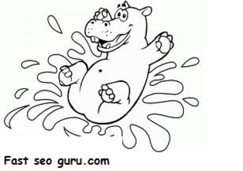 Printable Animal Little happy hippo coloring pages Printable