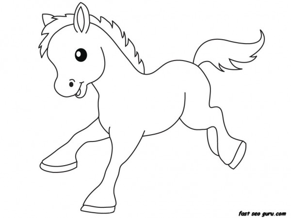 Print out Farm Pony Baby animals coloring pages  Printable