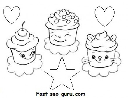 Print out Birthday mufien cake coloring pages