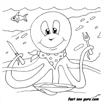 Print out sea animal Octopus Coloring pages