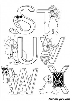 Printable preschool Alphabet Sesame Street coloring in worksheets