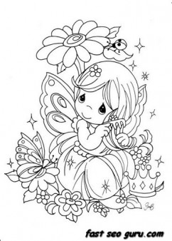 Precious Moments girl with flowers coloring pages