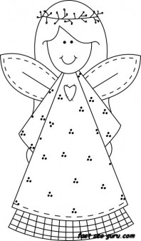 Print Out Christmas Smile Face Angel Coloring Pages Printable