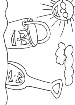 Print out Beach Pail and Shovel Coloring Book