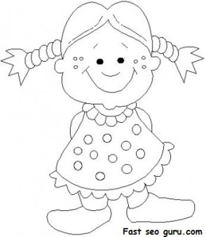Print out girl doll smiles coloring