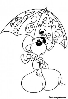 Printable cartoon Diddl coloring pages