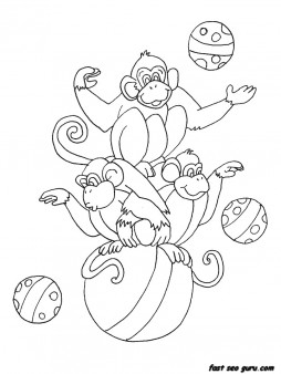 Printable circus monkeys coloring pages