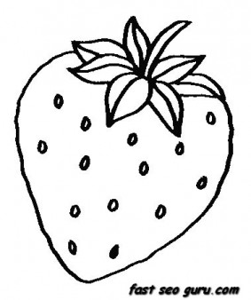 Printable fruits strawberry coloring pages printable for Printable fruit coloring pages