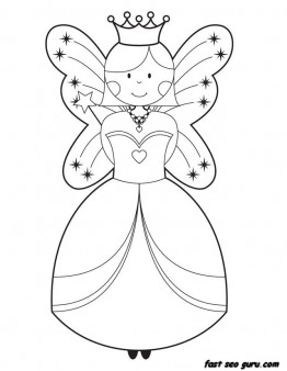 Printable cute Fairy coloring pages for girls