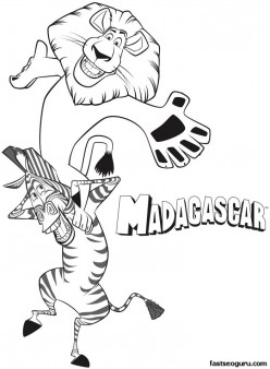 Printable madagascar 3  Alex and Marty are having fun coloring pages