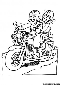 Grandpa Drive Motorcycle Coloring Page