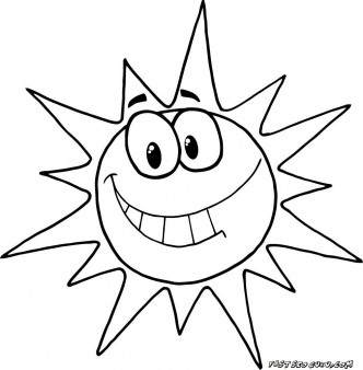 Printable cartoon character smiling sun coloring pages