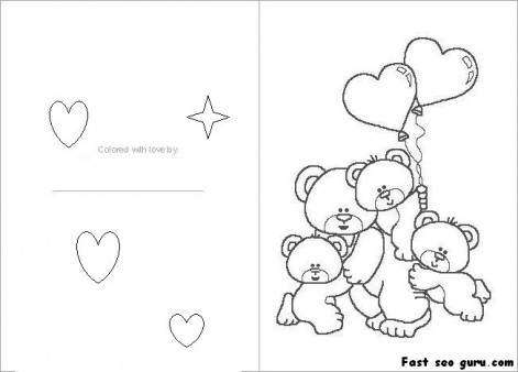 Printable Valentines Day card colorin in card