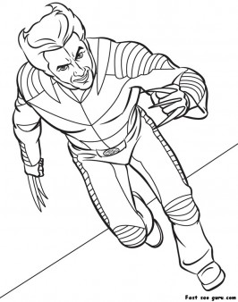 printable superhero x man wolverine coloring page
