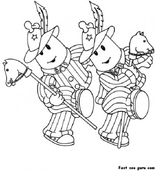 Printable bananas in pyjamas coloring pages