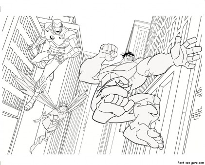 Printable The Avengers Iron Man Hulk Coloring Pages