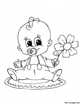 Print out baby playing with flower coloring page