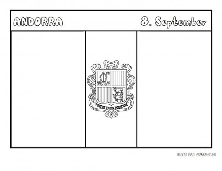 Printable flag of andorra coloring page