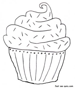 printable blueberry muffin birthday cake coloring page - Printable ...