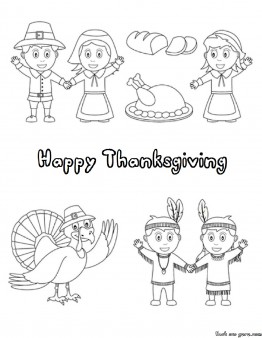 Printable happy Thanksgiving Day Coloring page