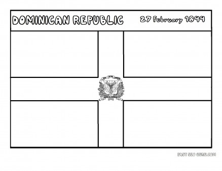 Printable flag of dominicanrepublic coloring page
