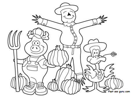 Printable Thanksgiving Scarecrow Pig And Duck Coloring
