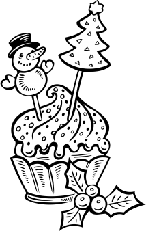 christmas cupcake coloring pages - photo#4