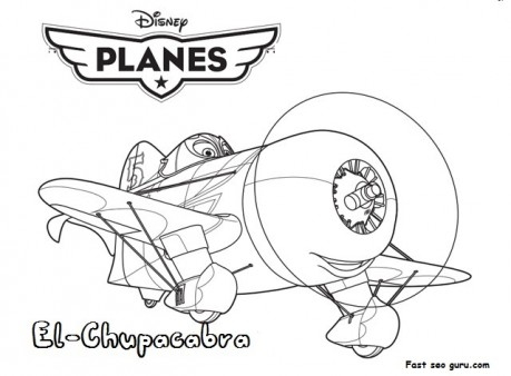 Printable planes movies el-chupacabra coloring page