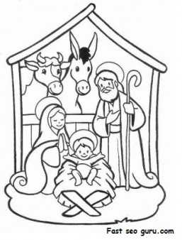 Printable Christmas Jesus in the manger coloring pages