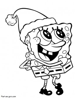 Printable Merry Christmas Spongebob coloring pages