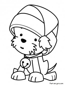 Printable Christmas Puppy with Santa Claus hat Coloring ...