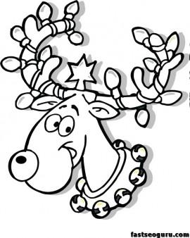 Christmas reindeer in lights coloring page printable for Christmas reindeer printable coloring pages