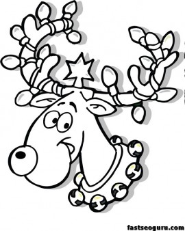 christmas reindeer in lights coloring page