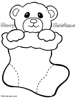 Printable Teddy In Christmas Stockings Coloring Pages