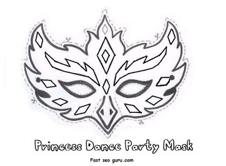 ... Girls » Printable princess dance party mask cutouts coloring in mask