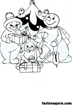 Christmas Snowman Family printable coloring page