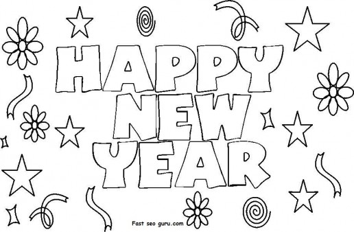 new year coloring pages 2013 | Printable New Year 2014 clipart Coloring Pages - Printable ...