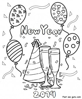 Printable happy new year 2014 clipart coloring pages
