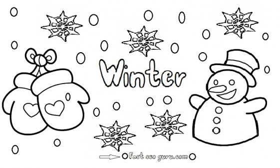 Printable winter snowman coloring pages