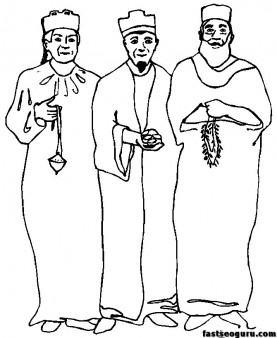 christmas Three Wisemen print coloring pages