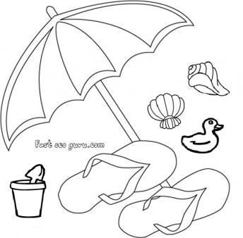 print out beach slippers and umbrella clip art
