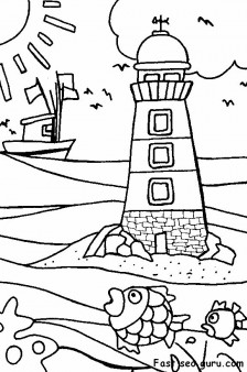 Printable lighthouse beach coloring pages Printable