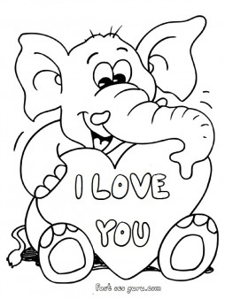 printable valentines day teddy elephant card coloring pages - Valentine Coloring Pages For Kids