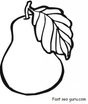 print out fruit pear coloring pages